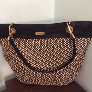 Eric Javits Houndstooth style Straw Bag New